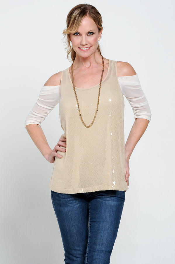 Waterfall 1/2 Sleeve Ivory Mesh (XS-XL)