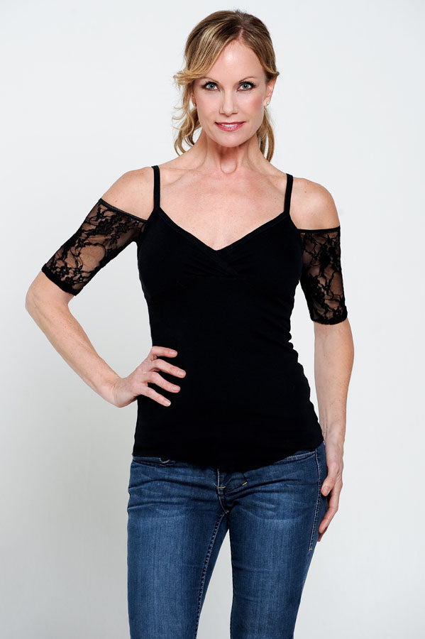 Bandeau 1/2 Sleeve Black Lace