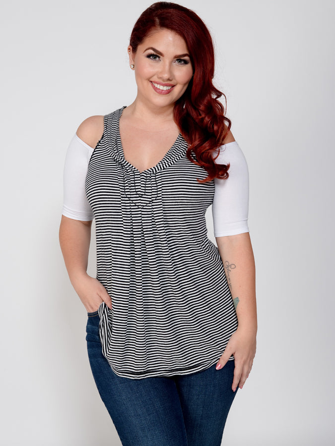 Bandeau 1/2 Sleeve White Jersey - Plus Size