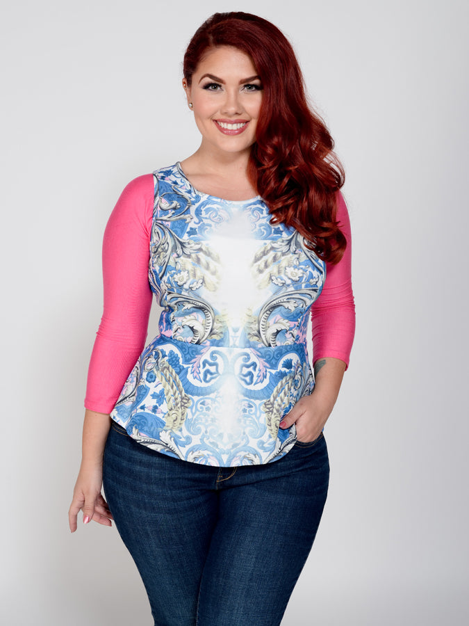 Basic 3/4 Sleeve Pink Jersey - Plus Size