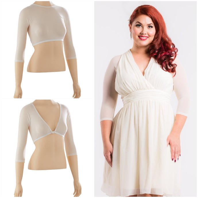 Halter 1/2 Sleeve Ivory Mesh Top - Plus Size