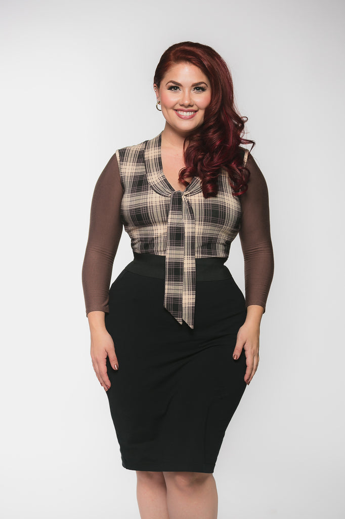 Basic 3/4 Sleeve Brown Jersey - Plus Size