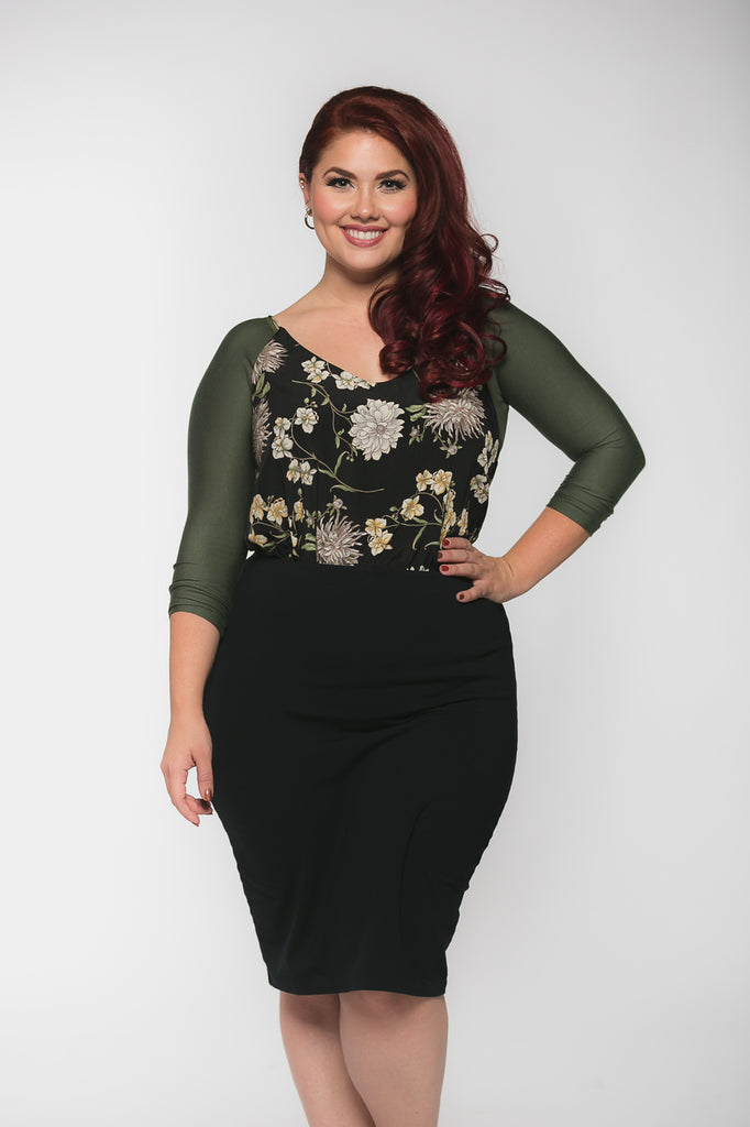 Basic 3/4 Sleeve Green Jersey - Plus Size