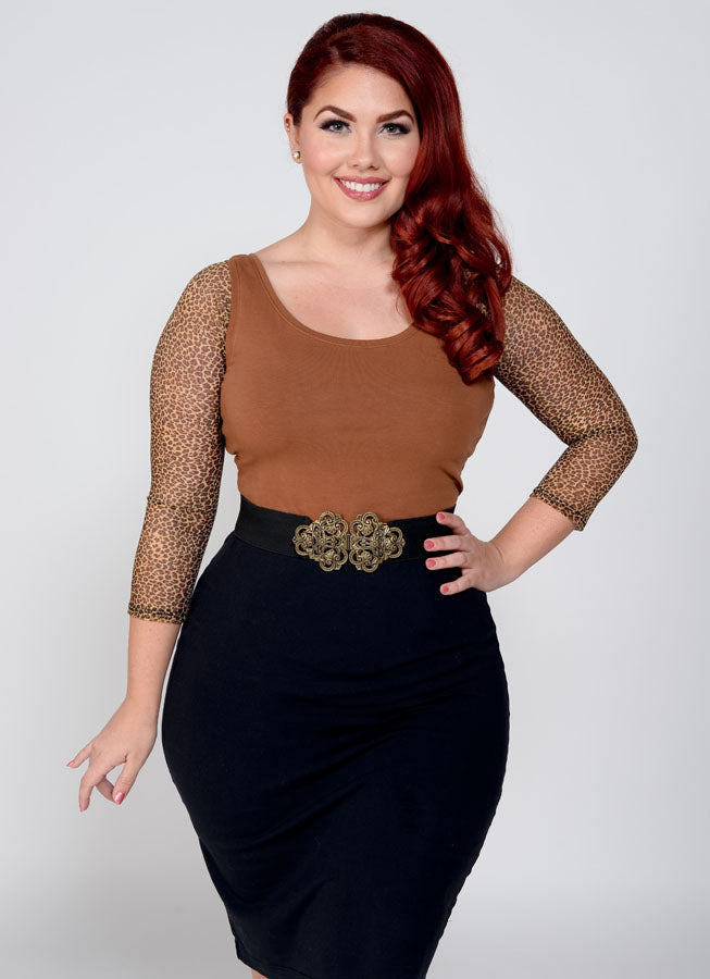 Basic 3/4 Sleeve Leopard Mesh - Plus Size