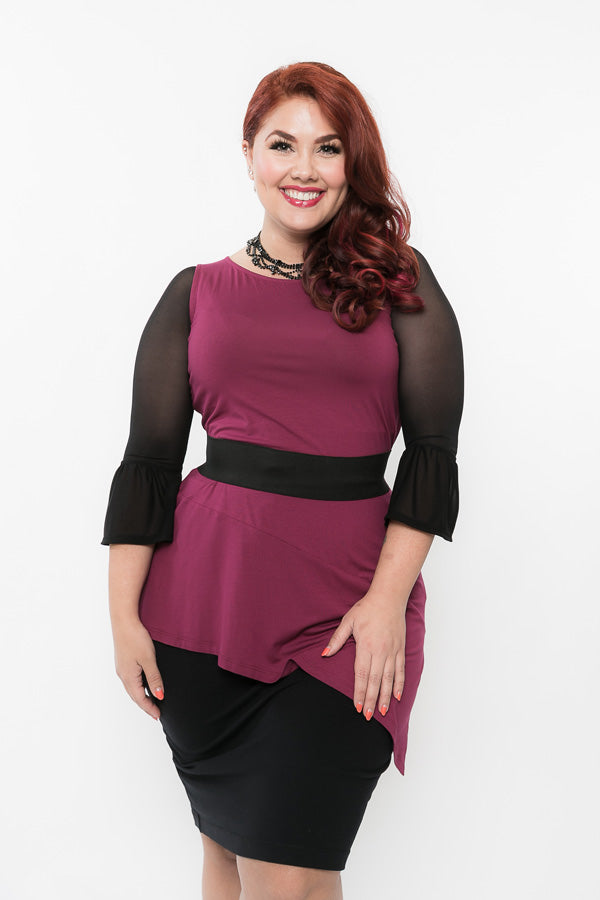 Bell 3/4 Sleeve Black Mesh- Plus Size