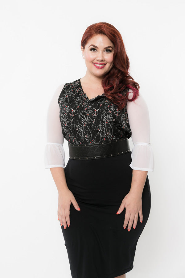 Bell 3/4 Sleeve White Mesh - Plus Size