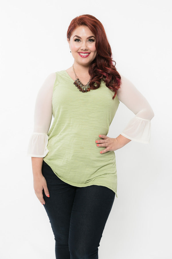 Bell 3/4 Sleeve Ivory Mesh - Plus Size