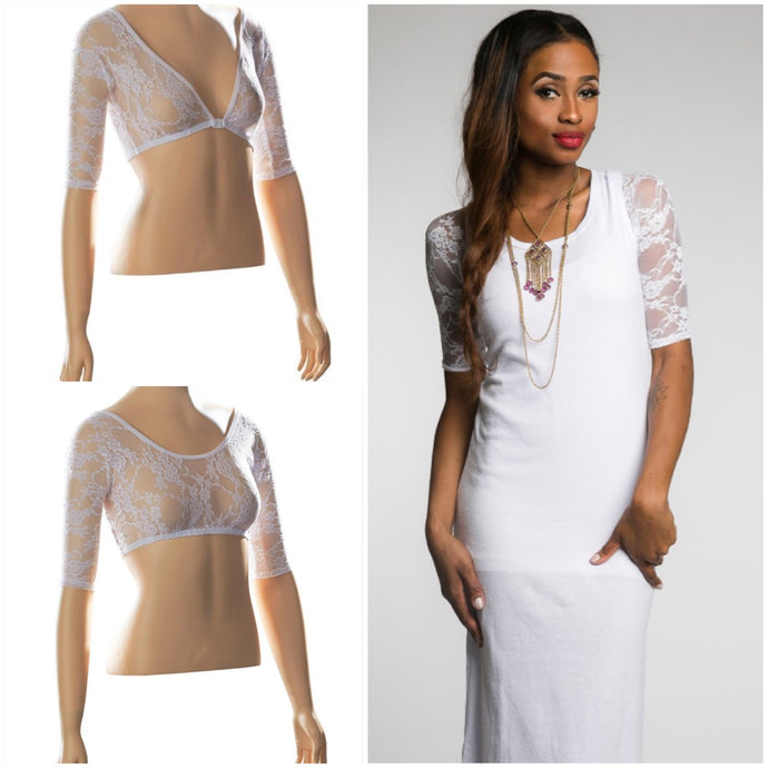 Basic 1/2 Sleeve White Lace (XS-XL)