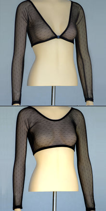 Basic Long Sleeve Black Dotted Mesh - Plus Size