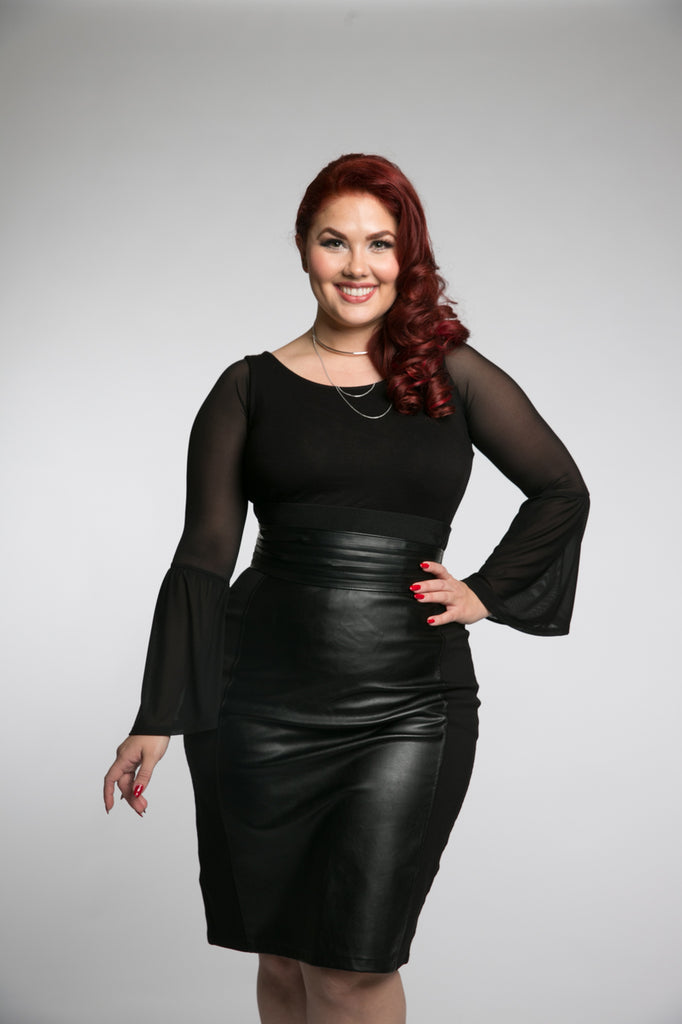 Long Bell Sleeve Black Mesh - Plus Size
