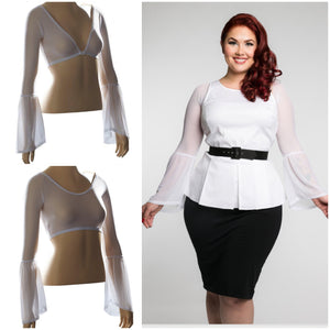 Long Bell Sleeve White Mesh - Plus Size