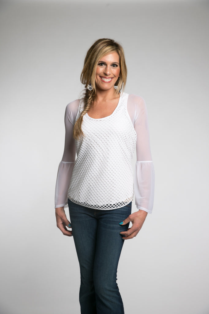 Long Bell Sleeve White Mesh