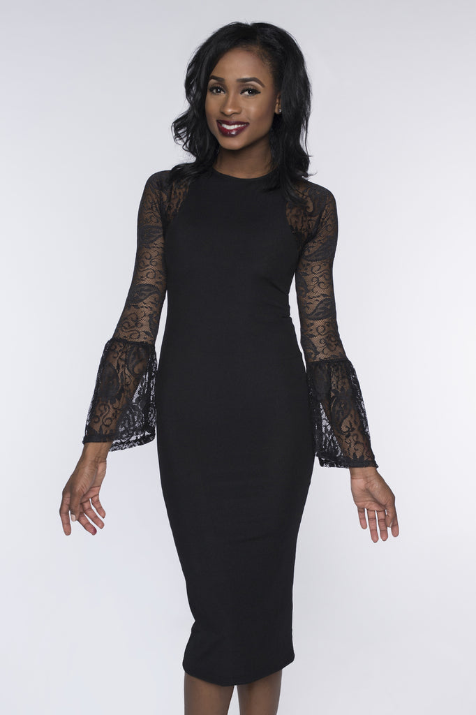 Long Bell Sleeve Black French Paisley Lace