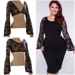 Long Bell Sleeve Black French Paisley Lace - Plus Size