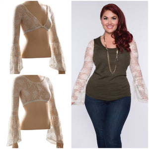 Long Bell Sleeve Ivory French Paisley Lace - Plus Size