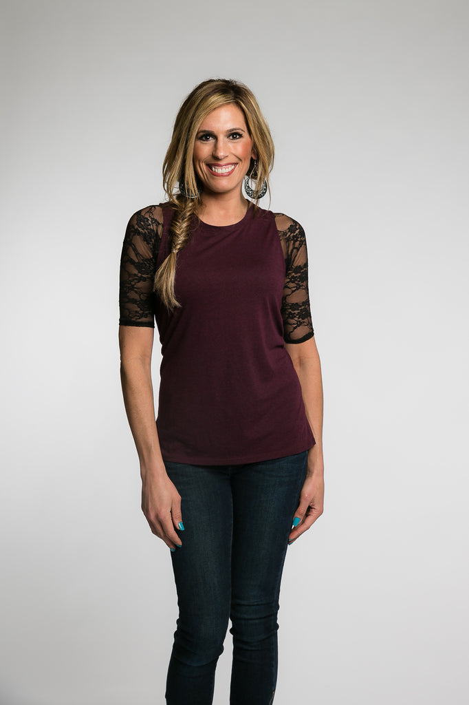 Basic 1/2 Sleeve Black Lace (XS-XL)