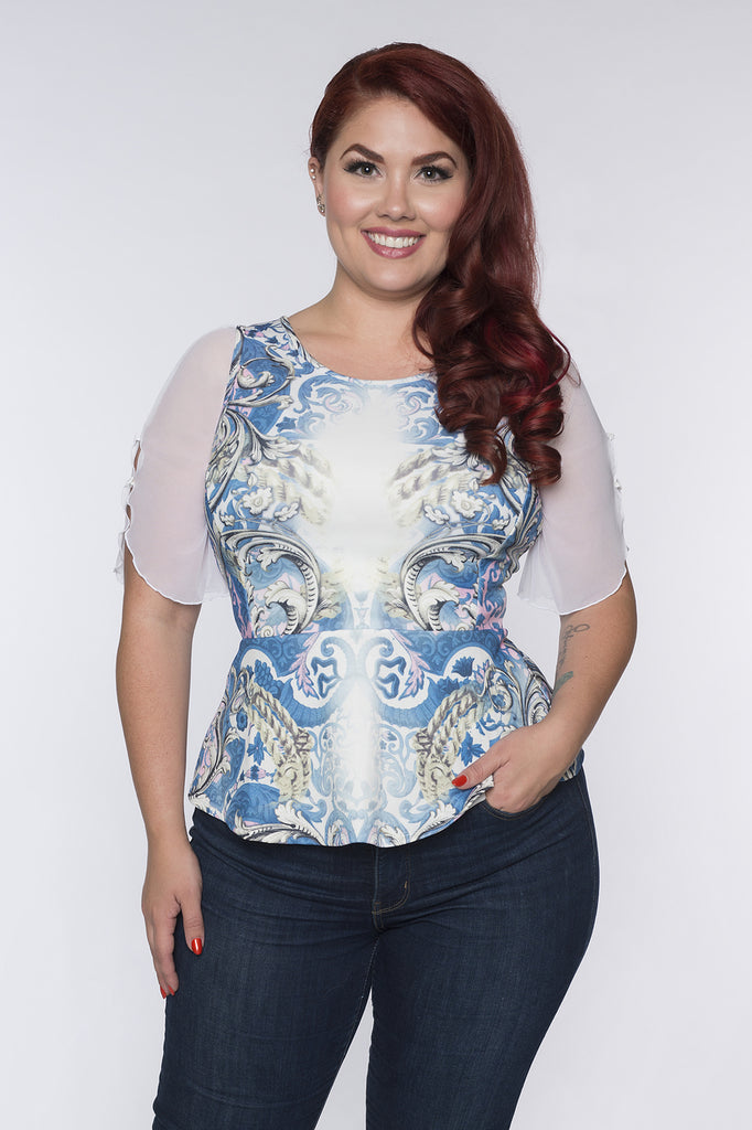 Flutter 1/2 Sleeve White Mesh - Plus Size