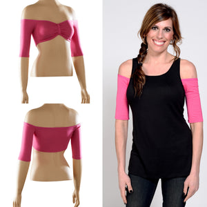 Bandeau 1/2 Sleeve Pink Jersey