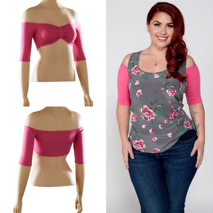 Bandeau 1/2 Sleeve Pink Jersey - Plus Size