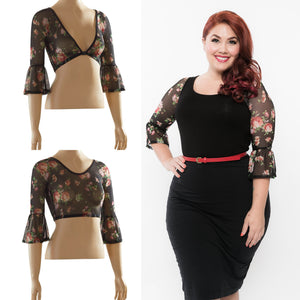 Bell 3/4 Sleeve Floral Mesh - Plus Size