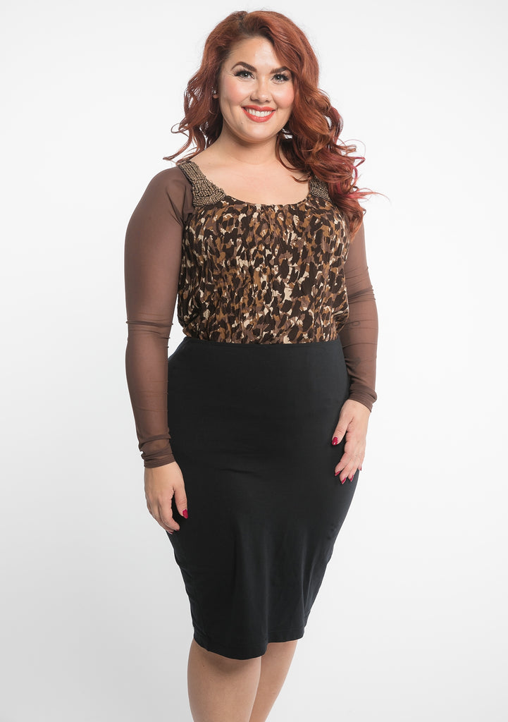 Basic Brown Mesh Long Sleeve - Plus Size
