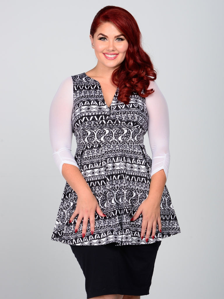Shirred 3/4 Sleeve White Mesh - Plus Size