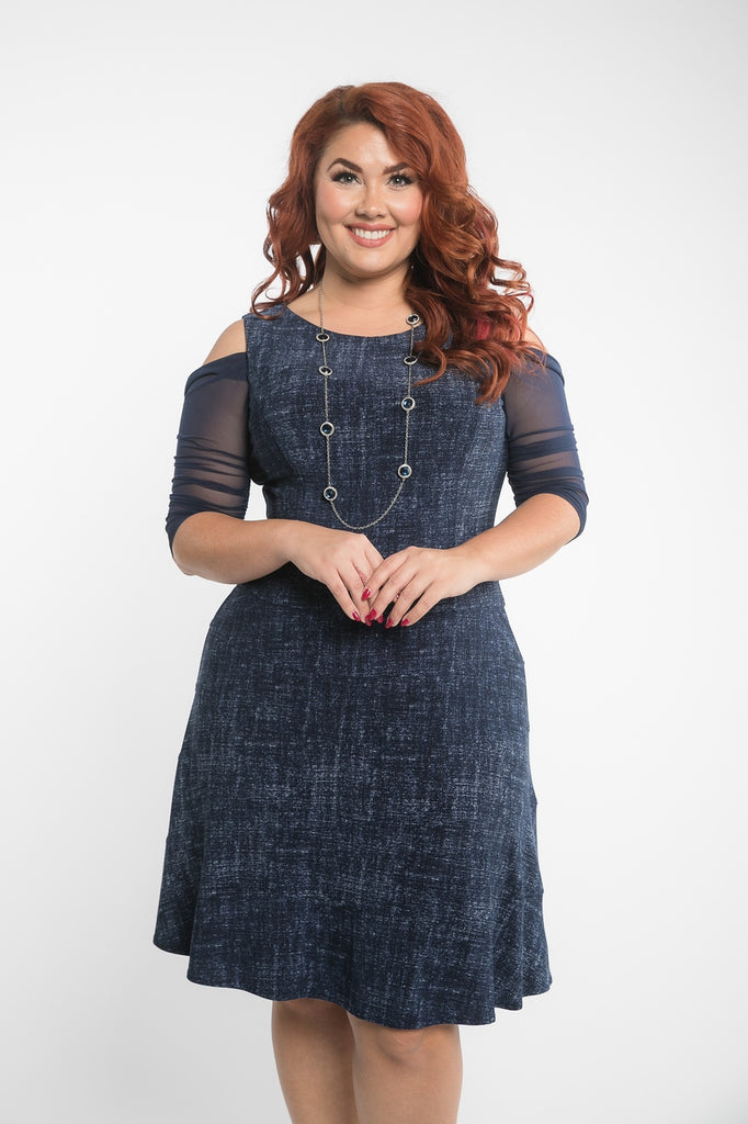 Waterfall 1/2 Sleeve Navy Mesh - Plus Size