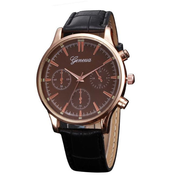 Mens Retro Design Leather Band Analog Alloy Quartz Wrist Watch