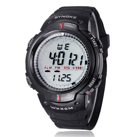 Waterproof Outdoor Sports Men Digital LED Quartz Alarm Wrist Watch