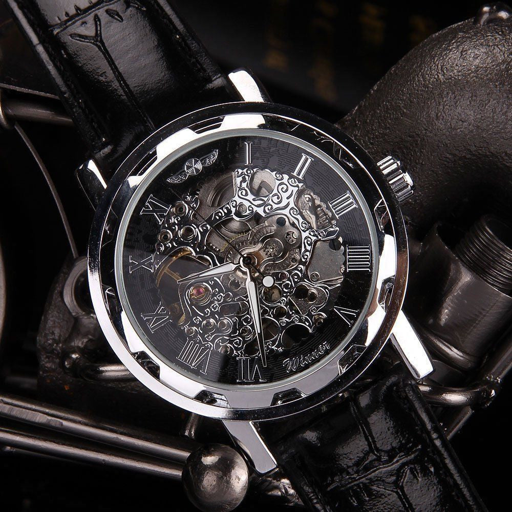 Black Leather Dial Skeleton Watch