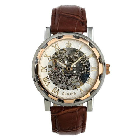Leather Skeleton Mechanical Army Watch