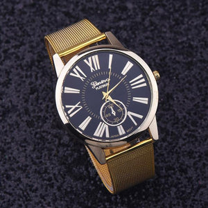 Rome Digital Classic Gold Quartz Stainless Steel Wrist Watch