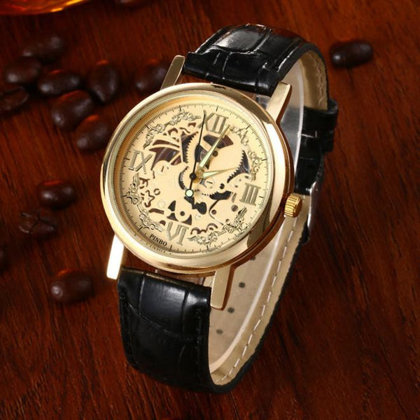 Skeleton Mens Brown Leather Band Quartz Stainless Steel Gold Wrist Watch