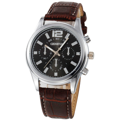 Checkers Faux Leather Wrist Watch