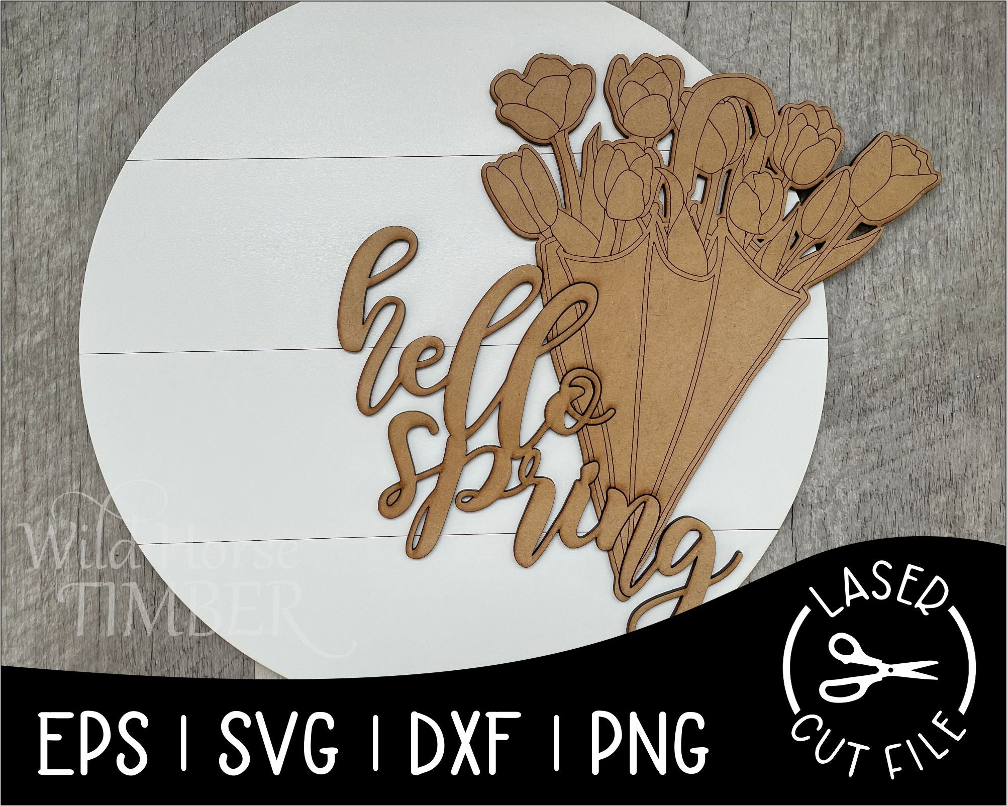 Umbrella Tulip Sign | Laser Cut File