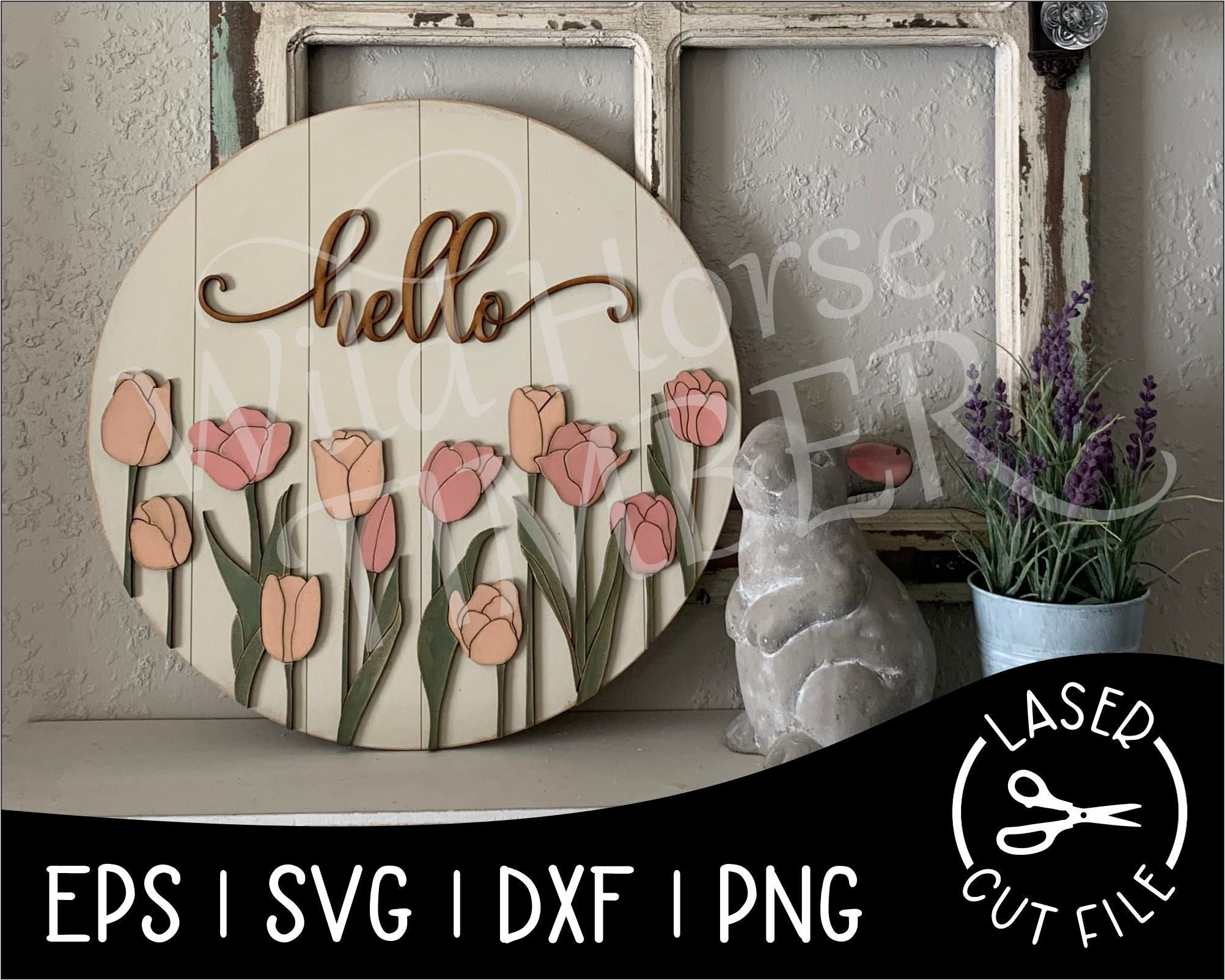 Round Spring Tulip Sign | Laser Cut File - Wild Horse Timber