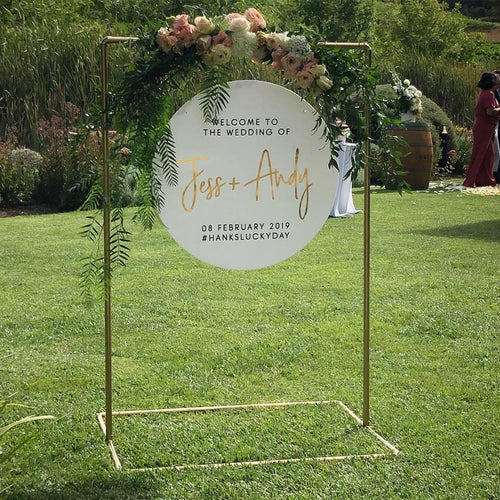 Gold Pipe Sign Stand HIRE