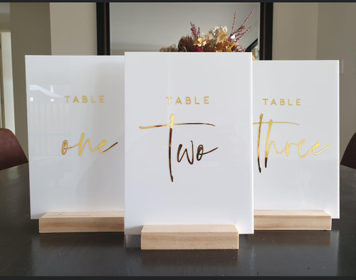 White Acrylic Table Numbers