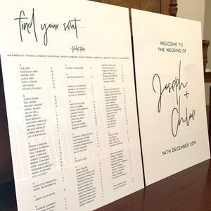 Acrylic Welcome Sign + Seating Chart Package