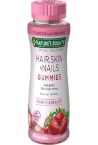 Nature S Bounty Optimal Solutions Hair Skin And Nails 80 Gummies With Biotin Strawberry Flavored