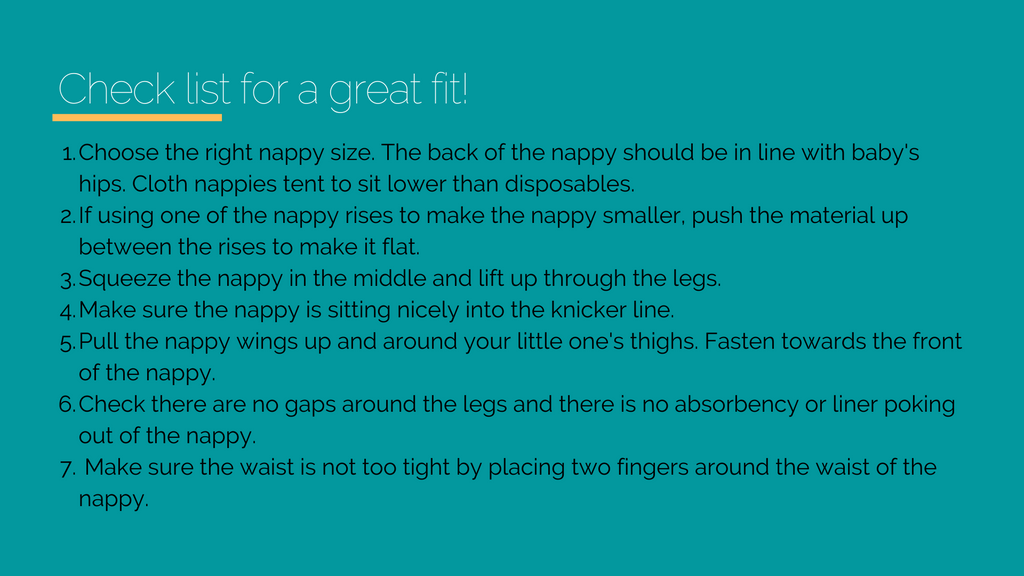 Steps on how to get a great fit with a reusable cloth nappy