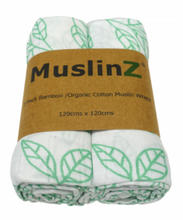 Load image into Gallery viewer, Bamboo/Organic Cotton Muslin Swaddles - 2 Pack