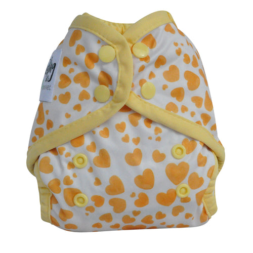 Seedling Baby Reusable Newborn MulitFit Yellow Hearts Pocket Nappy