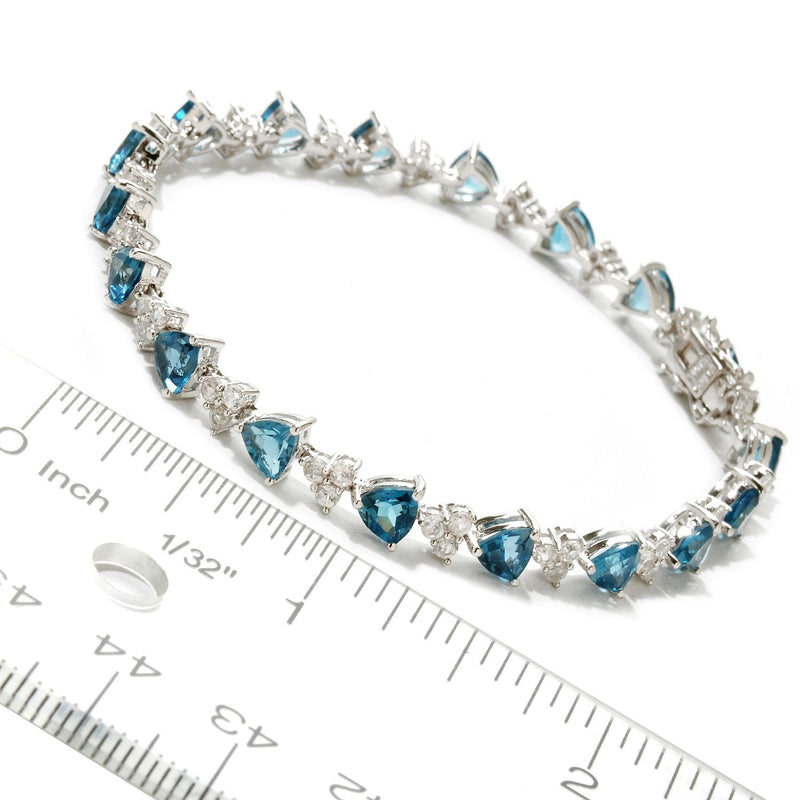 Pinctore Sterling Silver London Blue Topaz and White Topaz Tennis Bracelet