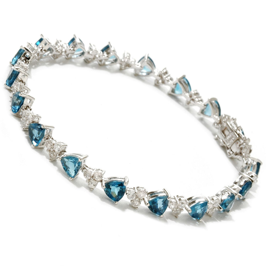 Pinctore Sterling Silver London Blue Topaz and White Topaz Tennis Bracelet - pinctore