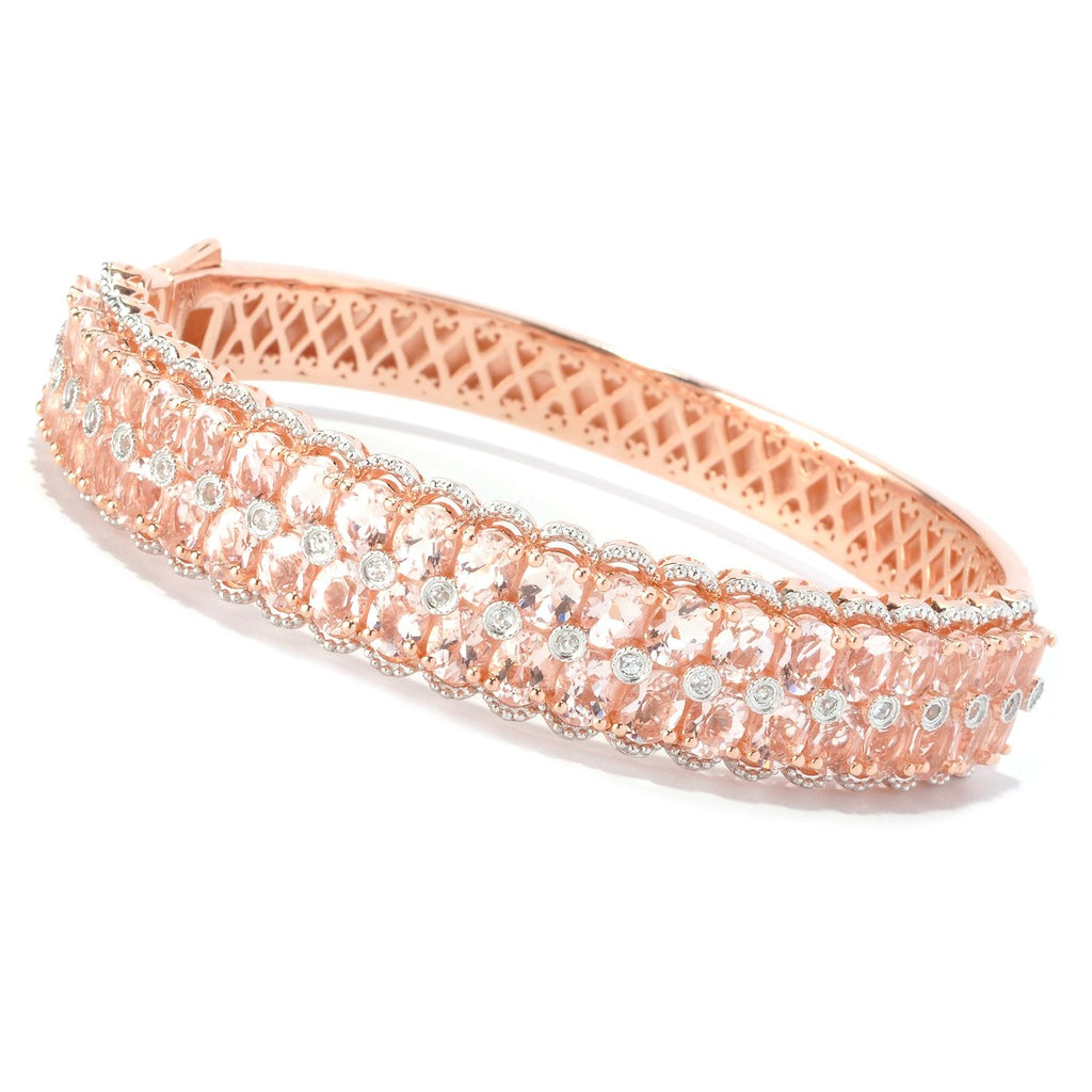 Pinctore 18K Gold Vermeil 146ctw Morganite & White Zircon Hinged Bangle Bracelet - pinctore