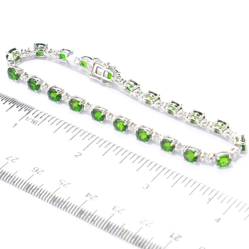 Pinctore Sterling Silver 92ctw Chrome Diopside Tennis Bracelet