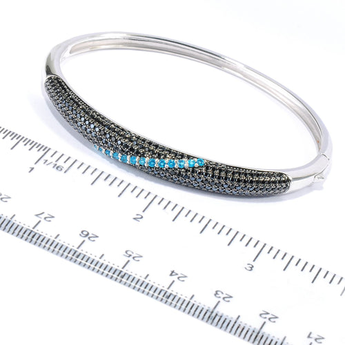 Pinctore Sterling Silver Black Spinel Neon Blue Apatite Bangle