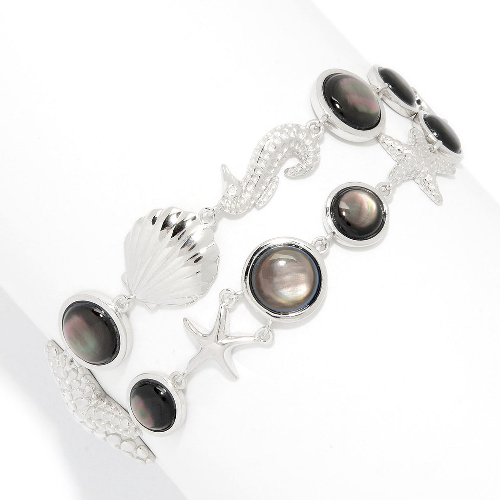 Pinctore Sterling Silver Grey Mother-of-Pearl Sea Life 2-Row Bracelet - pinctore