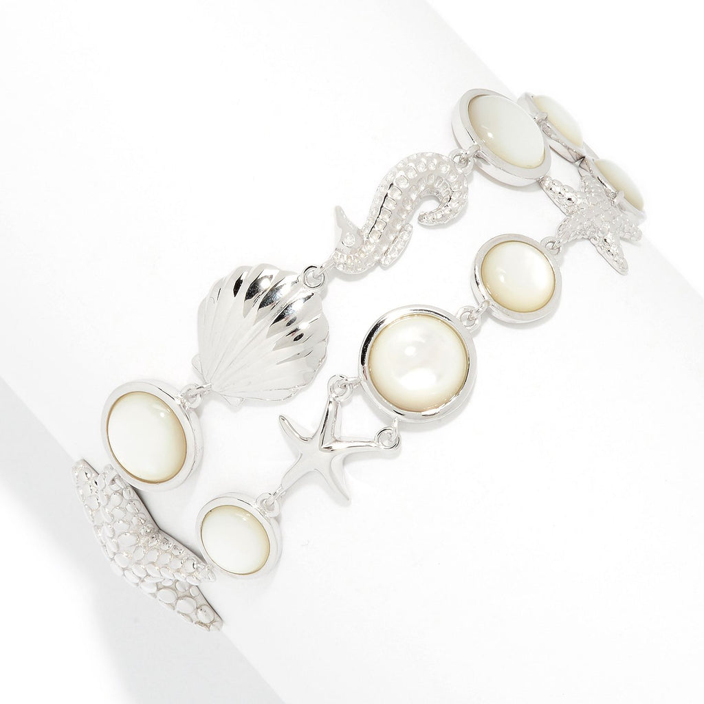 Pinctore Sterling Silver White Mother-of-Pearl Sea Life 2-Row Bracelet - pinctore
